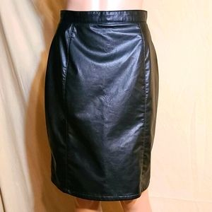 Extravaganza black pleather pencil skirt